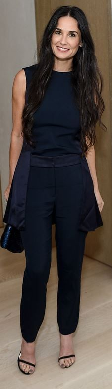 Who made  Demi Moore's black top, pants, and sandals that she wore in Los Angeles on November 20, 2014?