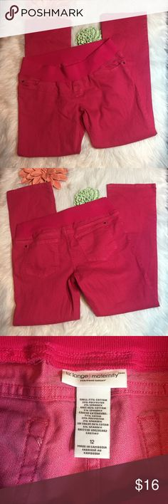 Bright pink maternity stretch boot cut jeans Liz Lange Maternity bright pink colored jeans size 12 Stretch waistband, boot cut, no signs of wear Please see pictures for details and measurements Liz Lange for Target Jeans Boot Cut