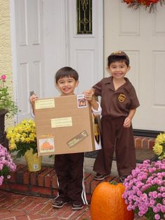 costume idea for toddler twins | UPS Man Delivers A Package | Costume Pop