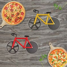 Bicycle Pizza Cutter Dual Non-Stick Stainless Steel Bike Wheel Cake Sliceryellow