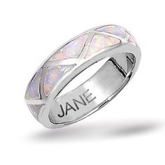 Mothers Day Gifts Bling Jewelry Sterling Silver Band Inlaid Opal Ring 6mm