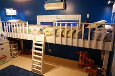 Double Loft Bed | Do It Yourself Home Projects from Ana White (doesn't have to be too high (just enough for storage under)
