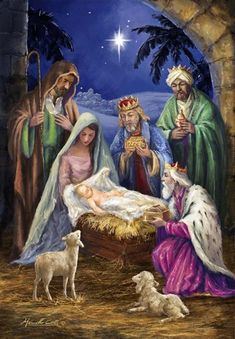Contemporary artwork of the manger scene of Mary and Joseph with baby Jesus as the three wise men visit. Holy Family with 3 Kings Wall Art by Corti, Marcello from Great BIG Canvas. Christmas Paintings On Canvas, Christmas Artwork, Christmas Nativity Scene, Christmas Scenes, Christmas Pictures, Nativity Scene Pictures, Christmas Garden Flag, Winter Christmas, Jesus Christus