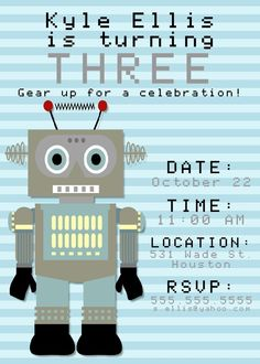 Boy robot birthday party lets go nuts instant download robot bear river photo greetings robot birthday party invitation for boys or girls filmwisefo Gallery