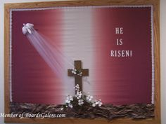This is beautiful. Easter Bulletin Boards, Valentines Day Bulletin Board, Christian Bulletin Boards, Library Bulletin Boards, Sunday School Classroom, Bible School Crafts, Christian Crafts, Board Ideas, Scriptures
