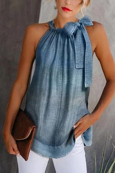 Casual Off-Shoulder Bowknot Denim Vest # Casual Outfits going out blouses Casual Off-Shoulder Bowknot Denim Vest # Outfits tenis Denim Fashion, Look Fashion, Fashion Outfits, Fashion Blouses, 70s Fashion, Womens Fashion, Fashion Tips, Casual Dresses, Casual Outfits
