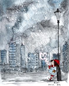 (time, what d'you think you doing). When the weather is trolling us, giving us snow and rain at the same time, and promising it'll be cold tomorrow, only coffee can keep you afloat. Sketch Painting, Gouache Painting, Watercolor Wallpaper, Watercolor Art, Cartoon Drawings, Cute Drawings, Picture Story, Whimsical Art, Cute Illustration