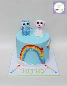 Beanie Boos Cake - Rainbow Cake - Oscar the Owl - Pippie the Puppy by Sweet & Snazzy https://www.facebook.com/sweetandsnazzy