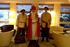 """#movenpickXmas at Mövenpick Hotel Egerkingen. Where is the christmas tree? Right behind """"Samichlaus""""and the two """"Schmutzlis"""". ;-)"""