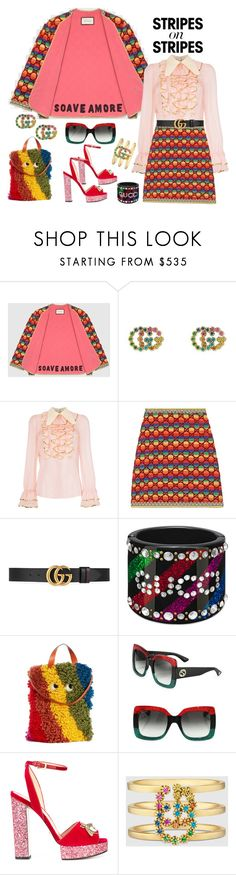"""Girls night out in Gucci stripes"" by ellenfischerbeauty ❤ liked on Polyvore featuring Gucci and Anya Hindmarch"