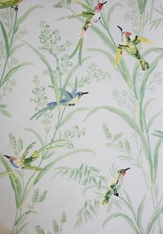 Augustine Wallpaper A printed wallpaper on a pale blue background featuring colourful birds amongst wildflowers and plants.