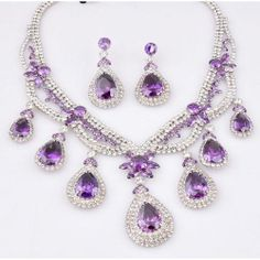 Designer Purple Zircon Drop Bridal Wedding Evening Ball Jewelry Sets SKU-10801107