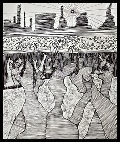 Abstract Surrealism - 'Basking in Subconscious' - Ink on paper