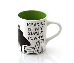 Reading is my super power mug green book lover teacher by LennyMud, $16.00