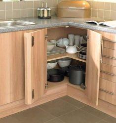 New kitchen corner ideas modern Ideas Kitchen Cabinet Organization, Kitchen Cabinet Design, Kitchen Storage, Cabinet Storage, Cabinet Ideas, Cupboard Ideas, Cabinet Decor, Cabinet Styles, Cabinet Colors