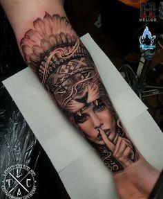 Warrior girl with lion and Indian headdress forearm tattoo. Done by myself – Art… Warrior girl with lion and Indian headdress forearm tattoo. Done by myself – Artist – Studio Loco tattoo Aus & Aurora Tattoo UK – Insta Lion Tattoo Girls, Lion Forearm Tattoos, Calf Tattoo Men, Girl Face Tattoo, Forarm Tattoos, Leg Tattoos, Wolf Face Tattoo, Back Of Forearm Tattoo, Mens Lion Tattoo
