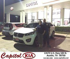 https://flic.kr/p/Msa4Du | Happy Anniversary to James & Holly on your #Kia #Sorento from Ivan Rodriguez at Capitol Kia! | deliverymaxx.com/DealerReviews.aspx?DealerCode=RXQC