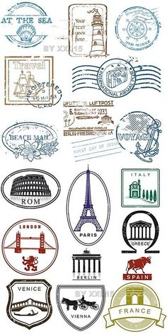 Travel Stamp Etsy - You Searched For Travel Stamp Etsy Is The Home To Thousands Of Handmade Vintage And One Of A Kind Products And Gifts Related To Your Search No Matter What Youre Looking For Or Where You Are Voyage daventure Watercolor Card, Stencil, Kalender Design, Travel Stamp, Images Vintage, Passport Stamps, Travel Wallpaper, Thinking Day, Travel Themes