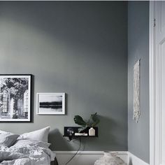 Gorgeous Gray Wall In Minimalistic Bedroom From Interior Designer  @JasminaBylund. Framed Posters From Printler