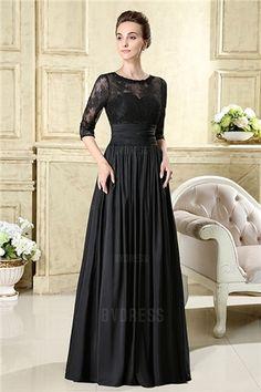 A-Line/Princess Jewel Floor-length Taffeta Lace Mother of the Bride Dress