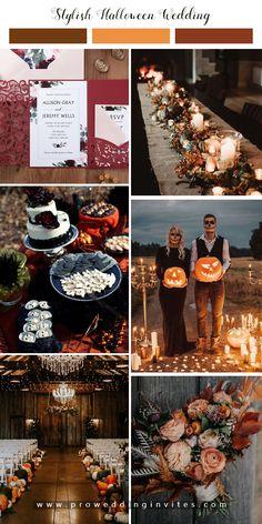 Fall Wedding Decorations, Fall Wedding Colors, Fall Wedding Themes, Autumn Wedding Ideas, Indoor Fall Wedding, Halloween Wedding Centerpieces, October Wedding Colors, Theme Halloween, Spooky Halloween