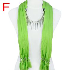 Green Scarf with Pendant