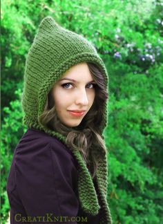 Sprinkle magic & fun into your wardrobe with this Pixie Hood knitting project! Such an easy & fast knit, you'll find yourself making many more colors!
