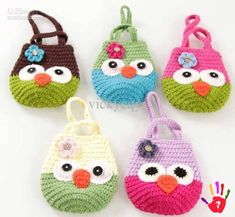 Cute - New Arrival Hand Knitting OWl Handbag Bags Kids Infant Crochet Handbags… I love to crochet. I love to search out pictures of crochet as inspiration for future projects. I'm always looking for pictures of beautiful things done in crochet. Crochet Flower Hat, Cute Crochet, Crochet For Kids, Crochet Toys, Crochet Baby, Crochet Handbags, Crochet Purses, Crochet Pouch, Kids Bags