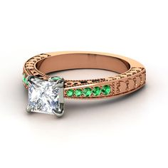 Gemvara Rose gold diamond and emerald engagement ring