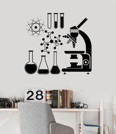 Wall Vinyl Decal Microscope Science Scientist Chemistry School Stickers (ig3079)