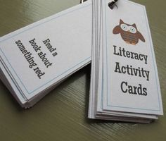 Literacy Activity Cards: 34 fun activities to build reading, writing  communication skills $1.50