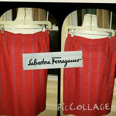 Vintage Salvatore Ferragamo 10 Gorgeous skirt that's part of a massive amount of clothing that I am selling for a friend. Comes from the home of his 90 year old mother who was quite a fashionista. This has a 14 inch waist and is 25 inches long. Vintage sizes are not the same as current sizes. Reasonable offers are welcome. Salvatore Ferragamo Skirts