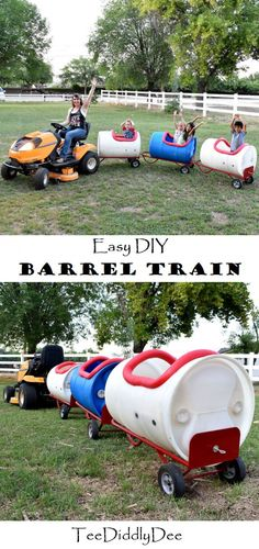 This DIY Easy Barrel Train will delight young and old alike! It is sturdy, easy to make and fun to ride in. The kids love it! Train Car, Train Rides, Barrel Train, Barrel Horse, Horse Flowers, Foam Pumpkins, Holidays With Kids, Outdoor Fun, Outdoor Toys