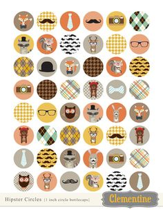 You will receive 1 sheet of Tribal bottle cap images with 48 circles on an 8.5 X 11 sheet. Bottlecap images are created at 300 dpi for great printing quality! These are slightly larger than 1 inch so youll get a perfect 1 inch circle using a craft punch. A small business commercial use license is included. Format: JPG and PDF. Files come in a zip folder. See my other bottle cap images available here: http://www.etsy.com/shop/ClementineDigitals?section_id=7570301 I love making pretty…