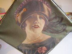 Gorgeous Vintage 1920s diamond shaped hand fan color paper picture of a flapper girl in hat w/a metal frame and twisted decorative handle