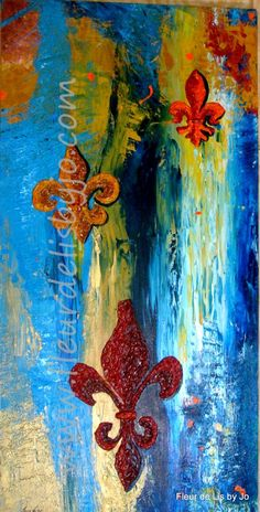BAYOU WANDERINGS created on the paint door of  Fleur de Lis by Jo  18x36 Acrylic on museum mounted canvas.