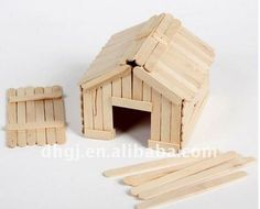 Here is a cute idea to build a little house with popsicle sticks. You can use it as a nice table decor or a pet house for small pets such as hamsters. To me, this is a hamster toy rather than a house, where it can run … Popsicle House, Popsicle Stick Houses, Popsicle Crafts, Craft Stick Crafts, Crafts For Kids, Wooden Toy Farm, Wooden Toys, Diy Hamster Toys, Diy Crafts Tools