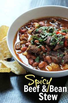Spicy Beef & Bean Stew Recipe | Good Cheap Eats  Come home to the amazing aroma of this Spicy Beef & Bean Stew that cooked in the slow cooker while you did other things. It's hot and spicy and utterly delicious!  http://goodcheapeats.com/2016/08/spicy-beef-bean-stew/