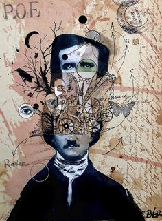 poe with exaggerated thoughts by Loui Jover
