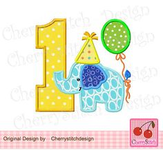 Birthday Number 1Birthday Elephant with by CherryStitchDesign