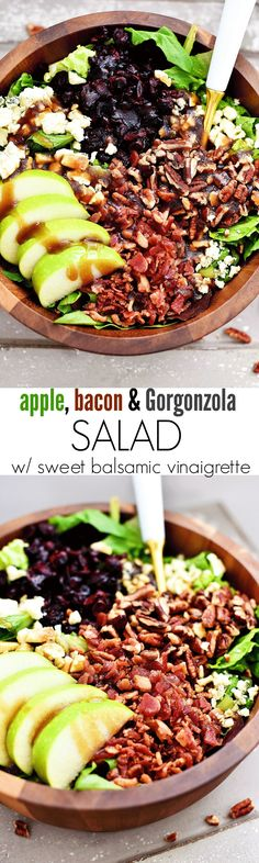Apple Bacon & Gorgonzola Salad with Sweet Balsamic Vinaigrette Apple Bacon & Gorgonzola Salad with Sweet Balsamic Vinaigrette,Bacon Recipes The most incredible Fall salad. Loaded with apples, crispy bacon and Gorgonzola cheese! Salad Bar, Soup And Salad, Fruit Salad, Ensalada Thai, Clean Eating, Healthy Eating, Clean Meals, Fall Salad, Gorgonzola Cheese