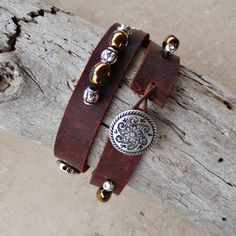 Leather Double Wrap Bracelet with Beads by LeasaDesigns on Etsy, $28.00
