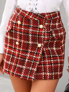 e337ecd08d Shop Skirts Plaid Double Breasted Mini Tweed Skirt Fashion Trends, Styles  and Tips for Women in 2018 #chicme womens fashion chicme wedding #fashion  ...
