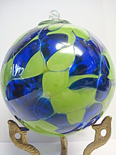 4'' Blue and Green Kugel Spirit Friendship Gazing Ball Suncatcher Ornament Orb