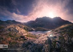 Bergsee by hipydeus  alps bergsee lake mountains rocks south tyrol sunset süd tirol Texelgruppe Nature Park Bergsee hipyd