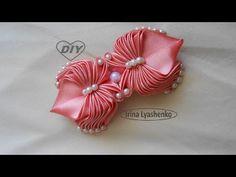 YouTube Diy Hair Bows, Making Hair Bows, Diy Bow, Diy Ribbon, Ribbon Crafts, Ribbon Bows, Ribbon Hair, Kanzashi Flowers, Felt Flowers