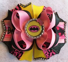 Batgirl Hair Bow/Superhero Party Hair Bow/Pink Batman Inspired Bow/Batgirl Bow/Hot Pink Bat Girls Hair Bow/Girly Curl Bow/Boutique Style Bow by GirlyCurlBowtique on Etsy