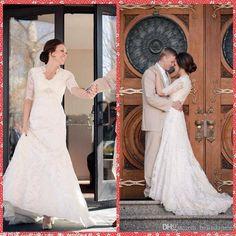 2015 Vintage A Line Wedding Dresses Embroidery Lace Appliques Chapel Train Half Sleeve Bridal Gowns Custom In China Vestidos De Novia Spring Wedding Dresses For Best Wedding Dresses Online From Belindajune, $145.55| Dhgate.Com