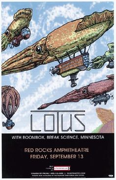 Concert poster for Lotus and Boombox at Red Rocks Amphitheatre in Morrison, CO in 2013.  11x17 card stock.