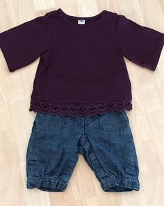 8f76ac8c9eb3 Girls 12-18 Months Baby Gap Cropped Jeans Old Navy Lace Trim Top Shirt